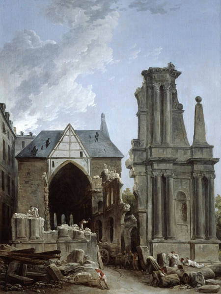Collapse Painting - The Demolition Of The Church by Hubert Robert