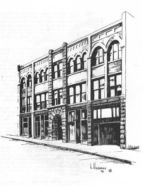 Drawing - The Denver Block Helena Montana by Kevin Heaney