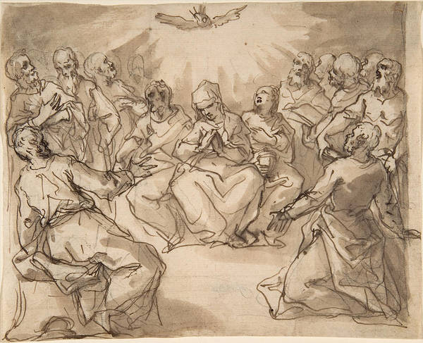 Drawing - The Descent Of The Holy Ghost by Hans Rottenhammer