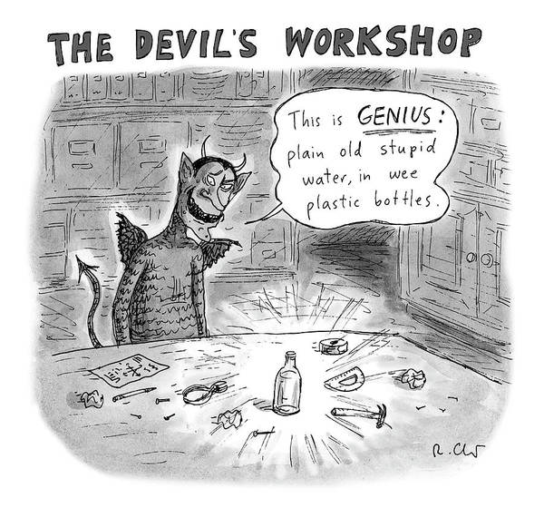 Bottle Drawing - The Devils Workshop by Roz Chast