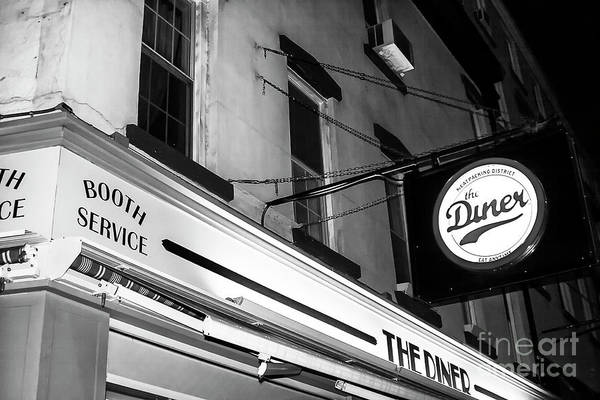 Photograph - The Diner At Night Noir New York City by John Rizzuto