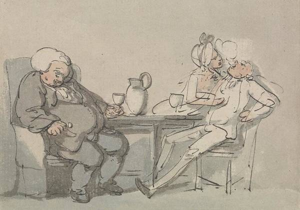 Drawing - The Doctor Overcame by Thomas Rowlandson