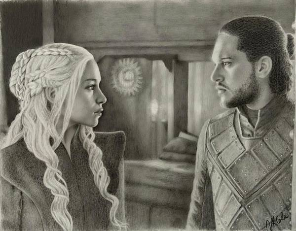 Drawing - The Dragon And The Wolf by Vanessa Cole