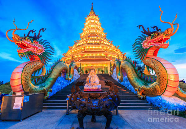 Wall Art - Photograph - The Dragon In Temple Wat Hyua Pla Kang by Apiguide