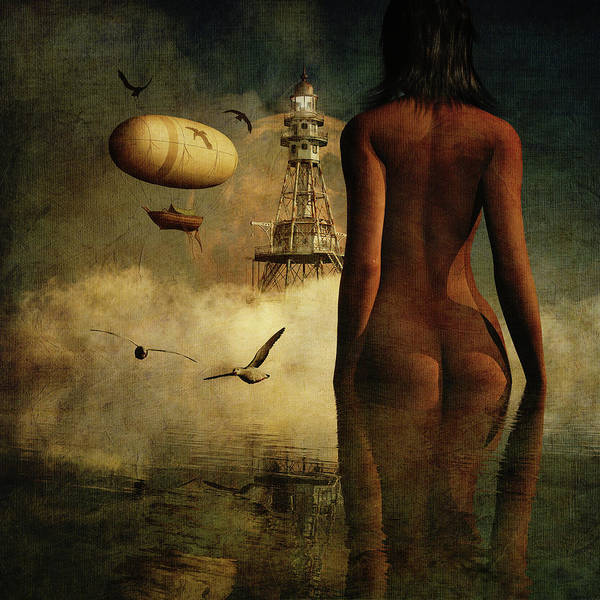 Digital Art - Julia's Dream About The Lighthouse And Its Inhabitants by Jan Keteleer