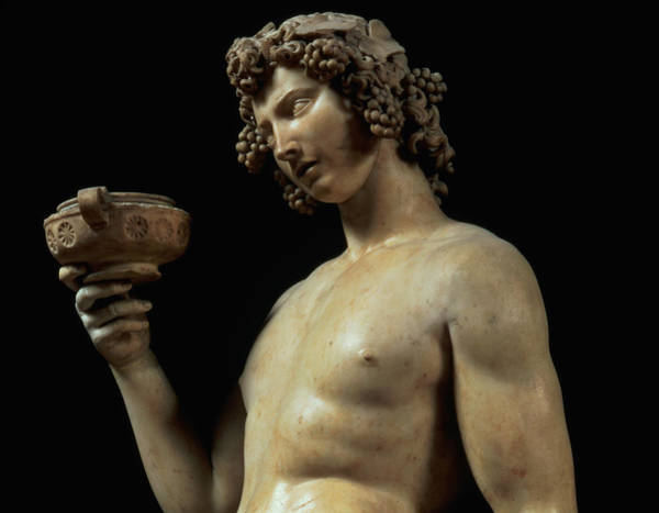 Buonarroti Wall Art - Photograph - The Drunkenness Of Bacchus, Detail Of His Head, Sculpture By Michelangelo Buonarroti by Michelangelo Buonarroti