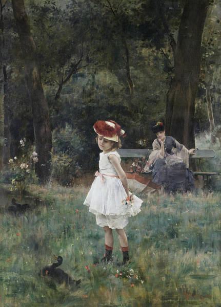 Wall Art - Painting - The Duck Girl by Alfred Stevens