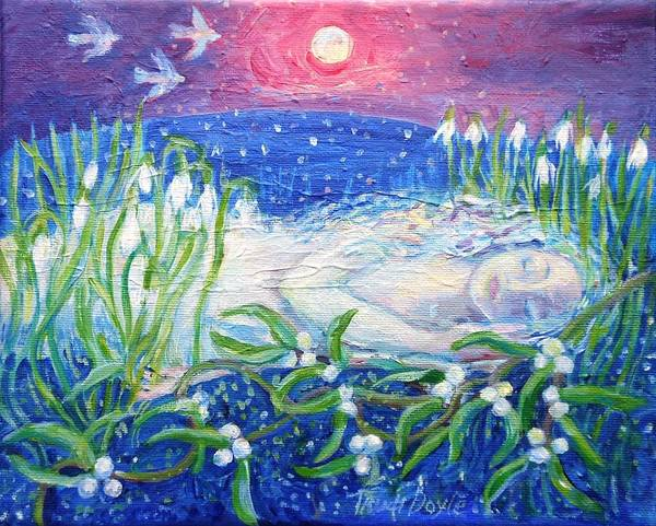 Snowdrop Painting - The Earth Awakens  by Trudi Doyle