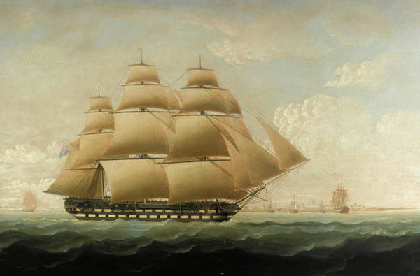 Wall Art - Painting - The East Indiaman Rose Off Portsmouth by Thomas Buttersworth