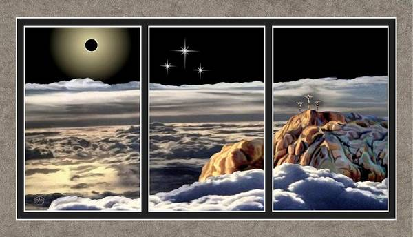 Redemption Painting - The Eclipse At Calvary Split Image by Ron Chambers