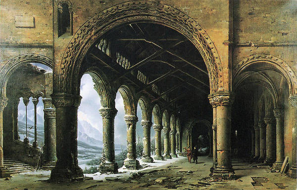 Legion Of Honor Painting - The Effect Of Fog And Snow Seen Through A Ruined Gothic Colonnade by Louis Daguerre
