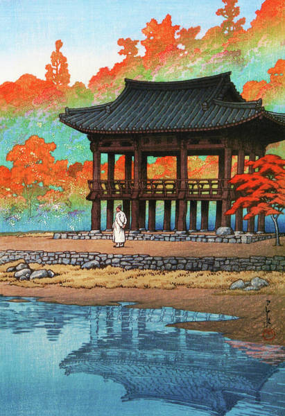 Wall Art - Painting - The Eight Views Of Korea, Hakuyo Temple, Sokei Tower - Digital Remastered Edition by Kawase Hasui