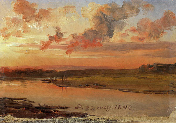 Wall Art - Painting - The Elbe In The Evening - Digital Remastered Edition by Johan Christian Dahl