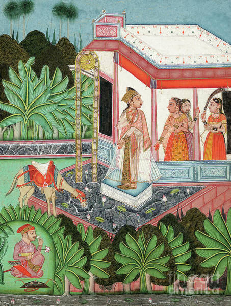 Wall Art - Painting - The Elopement Of Dhola And Maru, Bundi by Indian School