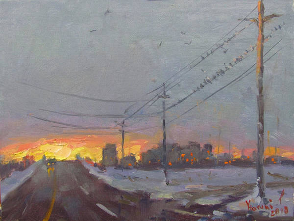Utility Poles Painting - The End Of A Gray Day by Ylli Haruni