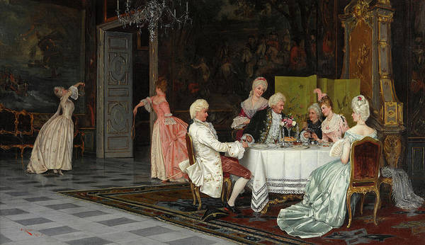 Nobility Painting - The Engagement Toast by Eugen von Renazzi