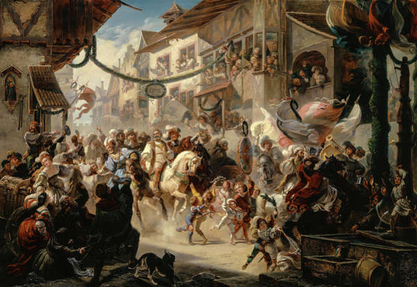 Wall Art - Painting - The Entering Of The Federal Envoys In Basel by Albert Landerer