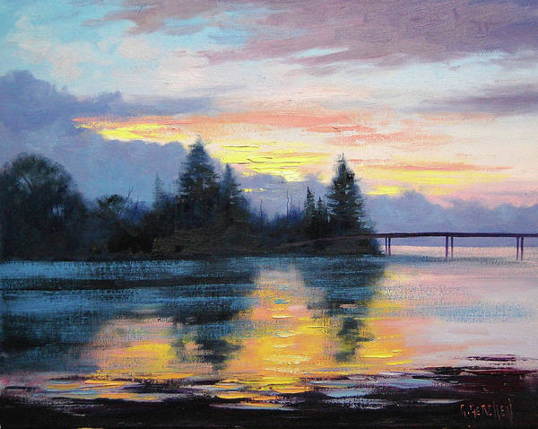 Entrance Wall Art - Painting - The Entrance Sunset by Graham Gercken