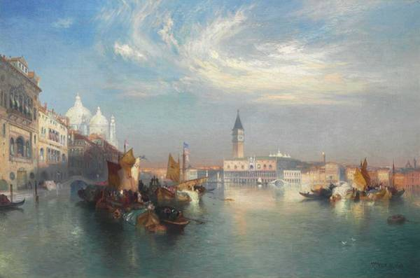 Wall Art - Painting - The Entrance To The Grand Canal  By Thomas Moran by Thomas Moran