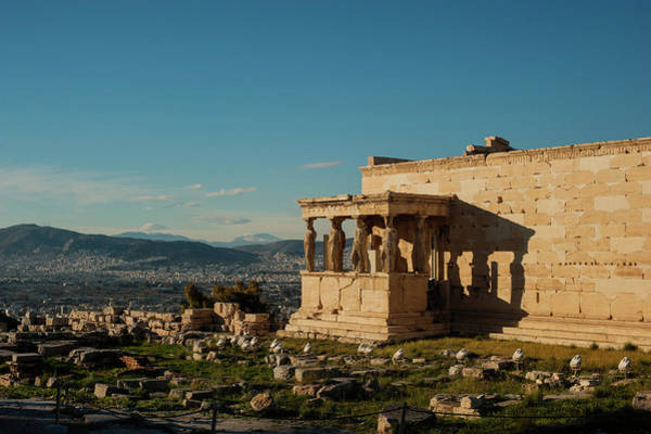 Erechtheion Photograph - The Erechtheion And Athens Cityscape by Cassi Moghan