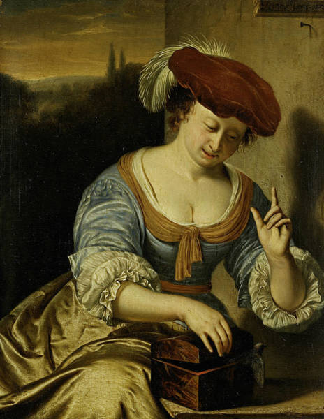 Painting - The Escaped Bird - Allegory Of The Lost Chastity by Frans van Mieris the Elder