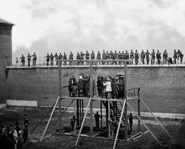 Wall Art - Painting - The Execution Of The Lincoln Conspirators, Adjusting The Ropes For Hanging The Conspirators, 1865 by Alexander Gardner