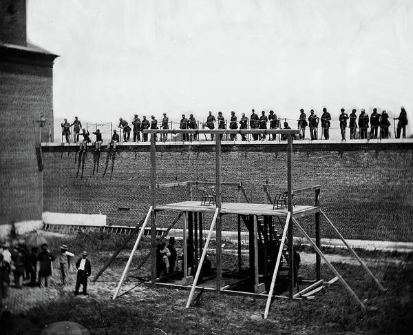 Wall Art - Painting - The Execution Of The Lincoln Conspirators, Execution Of The Conspirators, 1865 by Alexander Gardner