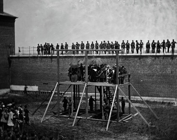 Wall Art - Painting - The Execution Of The Lincoln Conspirators, John F. Hartranft Reading The Death Warrant, 1865 by Alexander Gardner