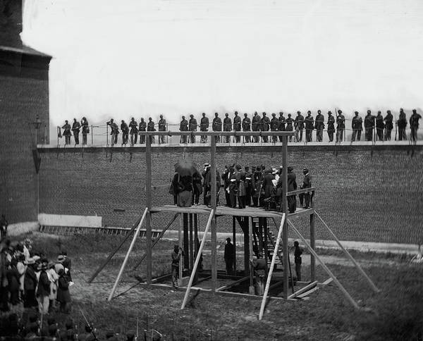 Wall Art - Painting - The Execution Of The Lincoln Conspirators, The Four Condemned Conspirators, 1865 by Alexander Gardner
