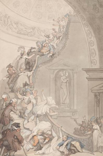 Drawing - The Exhibition Stare-case, Somerset House by Thomas Rowlandson