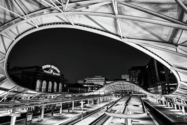 Photograph - The Eye Of Denver Union Station At Dawn - Monochrome Edition by Gregory Ballos