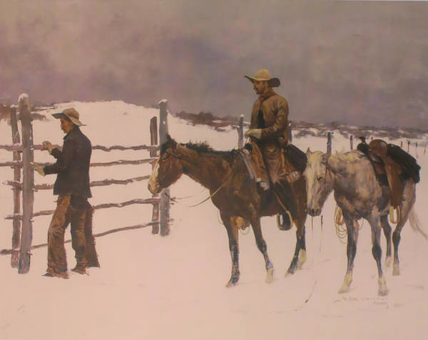 Saddle Wall Art - Digital Art - The Fall Of The Cowboy by Frederic Remington