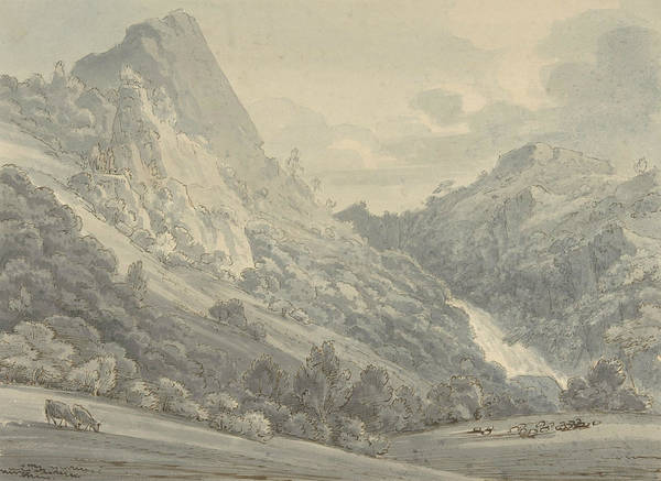 Drawing - The Falls Of Lodore by Thomas Sunderland
