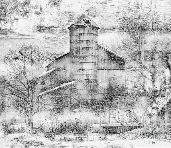Wall Art - Photograph - Barn With Silo Black And White by John Stephens