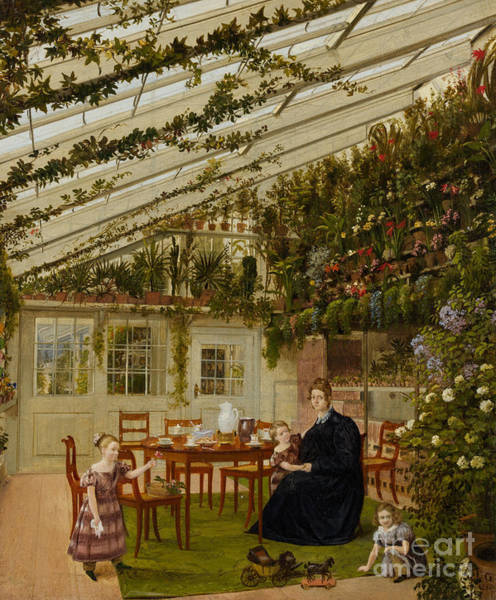 Wall Art - Painting - The Family Of Mr Westfal In The Conservatory, 1836  by Eduard Gaertner