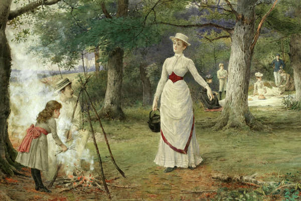 Wall Art - Painting - The Family Picnic by George Goodwin Kilburne