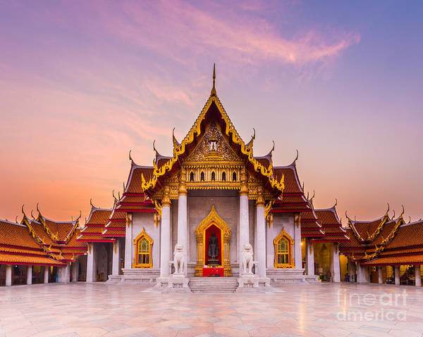 Travel Destinations Wall Art - Photograph - The Famous Marble Temple Benchamabophit by Pumidol