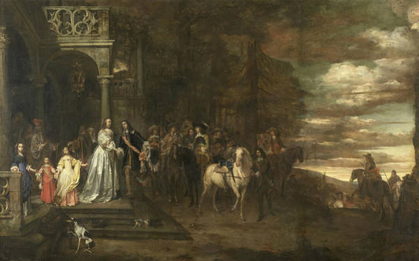 Painting - The Farewell Of Rhythm Master Hendrik De Sandra, Conducted By His Wife And Children by Pieter van Anraedt