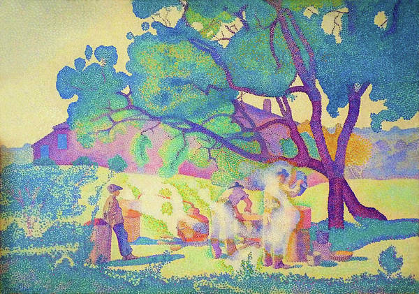 Wall Art - Painting - The Farm, Morning - Digital Remastered Edition by Henri Edmond Cross