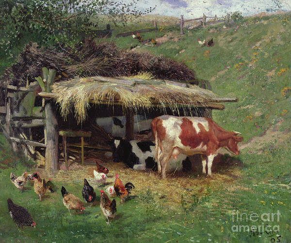 Wall Art - Painting - The Farmyard by Adolf Lins