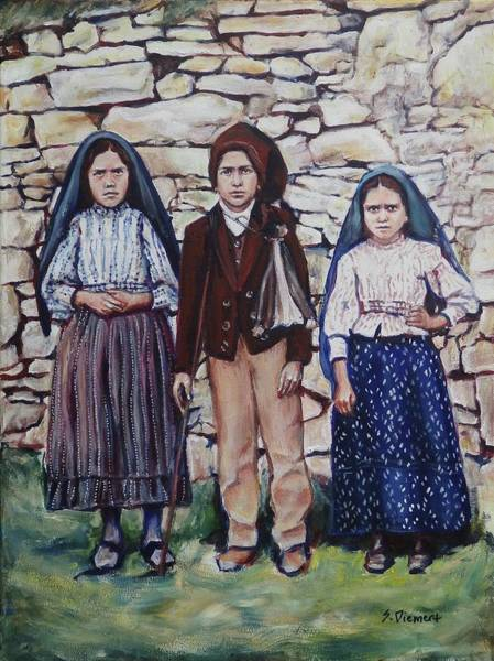 Saint Lucia Painting - The Fatima Children by Sheila Diemert