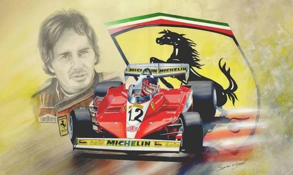Ferrari 126c Painting - The Ferrari Legends - Gilles Villeneuve by Simon Read