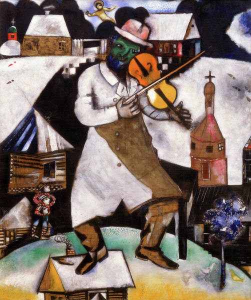 Music City Painting - The Fiddler - Le Violoniste,  1912-1913 by Marc Chagall