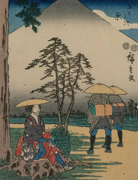 Relief - The Fifty-three Stations Of The Tokaido - Hara by Utagawa Hiroshige