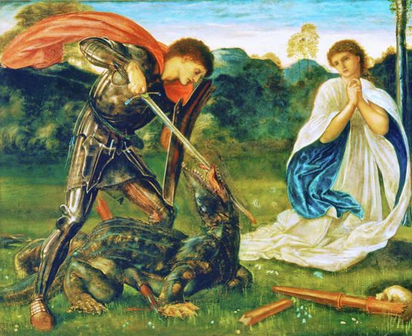 Wall Art - Painting - The Fight, St George Kills The Dragon Vi - Digital Remastered Edition by Edward Burne-Jones