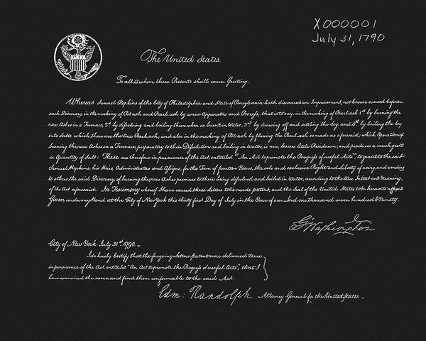 Wall Art - Drawing - The First American Patent by Dan Sproul
