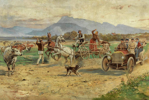 Rural Life Wall Art - Painting - The First Mercedes In Poland by Tadeusz Ajdukiewicz