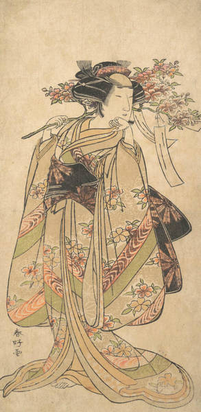 Relief - The First Nakamura Tomijuro As A Woman Walking Toward The Left by Katsukawa Shunko