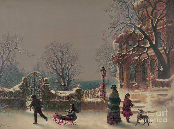 Wall Art - Painting - The First Snow, 1877 by CF Witman