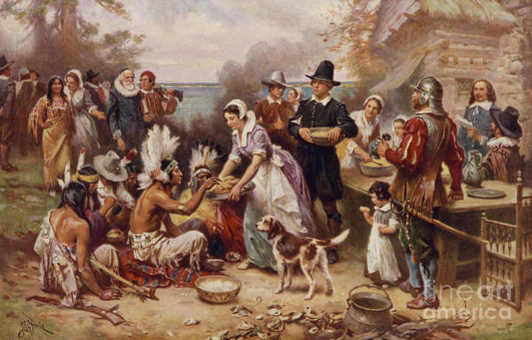 Wall Art - Painting - The First Thanksgiving 1621 by Jean Leon Gerome Ferris